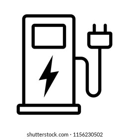 Electric vehicle charging station or EV charge point for electric vehicles / cars line art vector icon for apps and websites