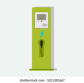 Electric vehicle charging station icon. Vector image isolated on white background.Electric battery chargers.Charging device.