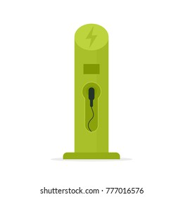 Electric vehicle charging station icon. Vector image isolated on white background