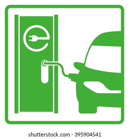 electric vehicle charging station, electric recharging point, simple icon, vector illustration