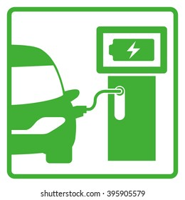 electric vehicle charging station, electric recharging point, simple icon set, vector illustration