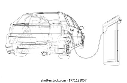Electric Vehicle Charging Station Sketch. Vector rendering of 3d. Wire-frame style. The layers of visible and invisible lines are separated