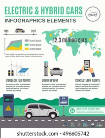 Electric vehicle and hybrid cars market growth infographic elements flat poster with clean electricity generation vector illustration
