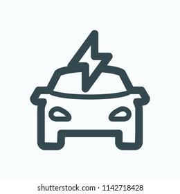Electric vehicle icon. Electric car with lighting bolt vector icon.