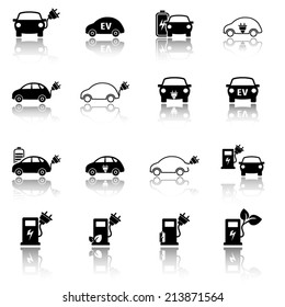 Electric vehicle icon set