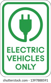 Electric Vehicle Only Parking Sign, EV Plug In Glyph, Charging Station, Green Driving, Print Ready Vector Illustration, Renewable Energy, Parking Space for Eco Friendly Hybrid Cars, Fuel Efficiency