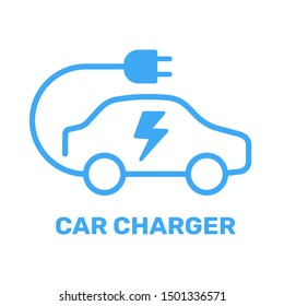 Electric vehicle power charging station. Electrical car symbol. Electric car icon with charging cable. Vector illustration. EPS 10.