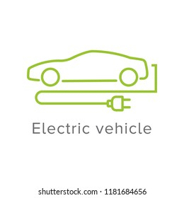 Electric vehicle sign with modern car outline and electric plug. Eletric car icon.