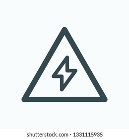 Electric warning sign linear icon, high voltage warning isolated vector icon