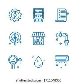 Dünne Linie-Icon für Strom- und Wasserrechnung, 64x64 Pixel perfektes Icon, bearbeitbares Icon für Webdesign und Anwendung auf weißem, isoliertem Hintergrund