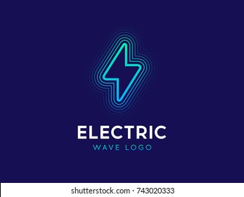 Electric wave logo concept. Lightning sign with waves. Electricity power logotype. Flash logo design in linear style. Lightning bolt with waves. Modern line vector illustration