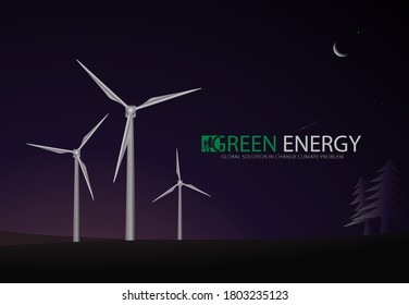 Electric Windmills or Green Electricity Production concept in Vector