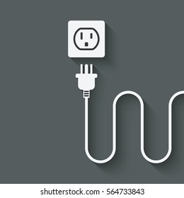 electric wire with plug near outlet. vector illustration - eps 10