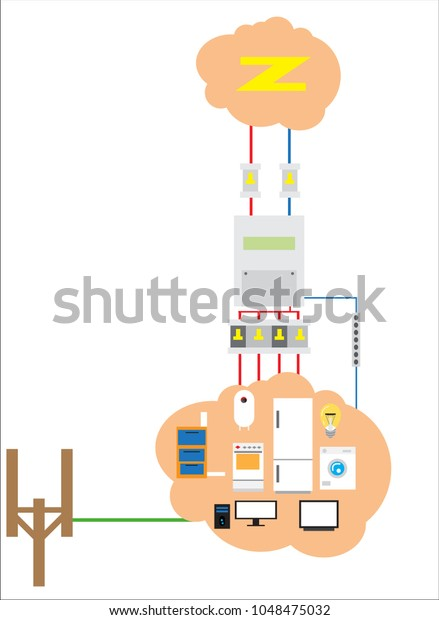 Electric Wiring Plan House Switches Leads Stock Vector ... on dimensions for house plans, roof for house plans, furniture for house plans,