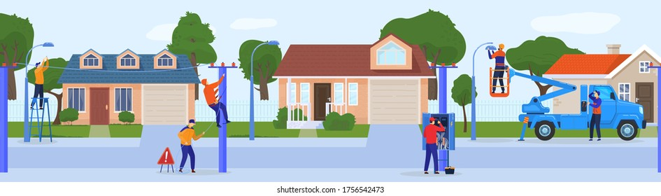 Electric worker people vector illustration. Cartoon flat repairman electrician characters working, doing technical work of fixing power line electrical city network, repair electric service background