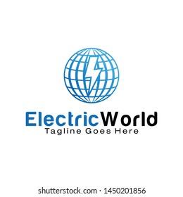 Electric World logo design template