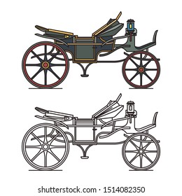 Electric XIX century carriage or retro automobile, opened vintage chariot or old car, stagecoach outline or waggon icon. Steam crew coach or classic auto. Transportation and wheeled vehicle, history