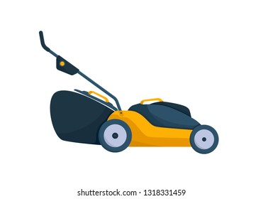 Electric yellow lawn mower in summertime. Lawn grass service concept. Flat style. Vector Illustration.
