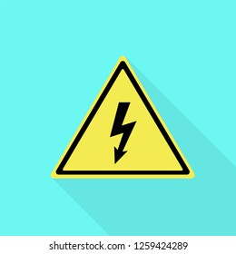 Electric yellow sign icon. Flat illustration of electric yellow sign vector icon for web design