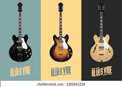 Electric-Acoustic Guitar - 3 Hollow Body Guitars with Different Colors - Retro Leaflet
