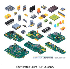 Electrical boards isometric. Hardware items computer power diodes semiconductors and small chip vector equipment set