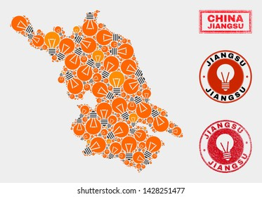Electrical bulb mosaic Jiangsu Province map and grunge rounded stamps. Mosaic vector Jiangsu Province map is composed with illumination bulb items. Concept for innovation services.