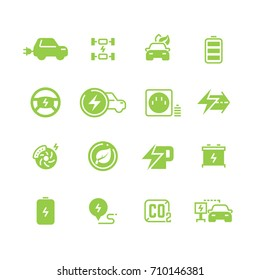 Electrical charge symbols and electric car eco transportation pictograms. Vector electric transport symbol, illustration of energy for automobile