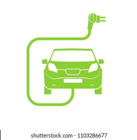 Electrical charging station symbol. Electric car charging icon isolated. Electric Vehicle Green electric car charging point icon vector. Renewable eco technologies. Vector illustration