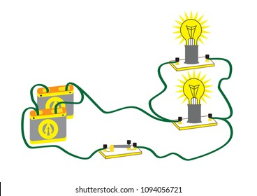 An electrical circuit consisting of parallel connected consumers, parallel connection makes it possible to disconnect one user of electrical energy.