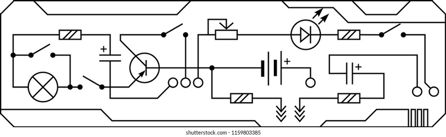 Electrical circuit of radio device (resistance, transistor, diode, capacitor, inductor). Vector background