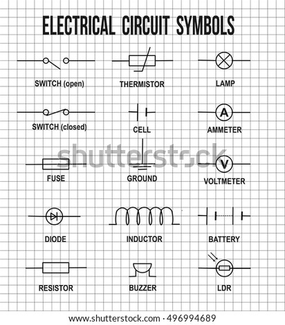 electrical circuit symbols on on math stock vector royalty free rh shutterstock com