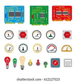 Electrical controls. Microchips, control boards, sensors, buttons and light bulbs. Stop button and start. Vector illustration, simple design.