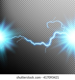 Electrical discharge. Lightning. Light effect. EPS 10 vector file included