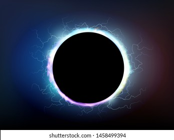 Electrical discharges around the black hole. Power bright energy plasma. Vector background