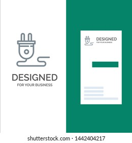 Electrical, Energy, Plug, Power Supply,  Grey Logo Design and Business Card Template