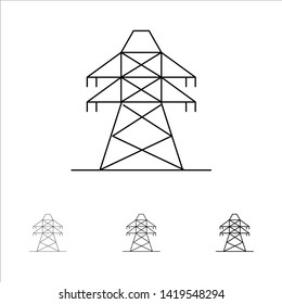 Electrical, Energy, Transmission, Transmission Tower Bold and thin black line icon set
