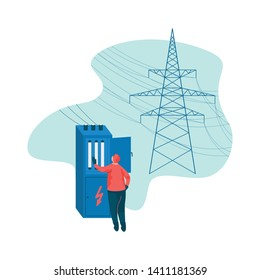 Electrical Engineer and Power High Voltage Tower Vector Illustration