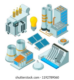 Electrical equipment. Watt electricity lighting generators vector isometric pictures isolated. Energy equipment, electricity power station illustration