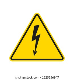 Electrical hazard sign with lightning or thunder icon. High voltage sign. Caution warning and Danger symbol. Triangle shape. Vector illustration.