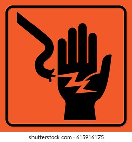 Electrical hazard warning sign. Black silhouettes on the orange background. Rectangular shape