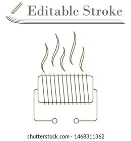 Electrical Heater Icon. Editable Stroke Simple Design. Vector Illustration.