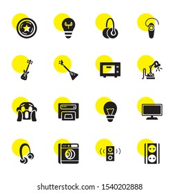 electrical icons. Editable 16 electrical icons. Included icons such as Socket, Loud Woofer Box, Washing machine, Headphones, Television, Light bulb. electrical trendy icons for web.