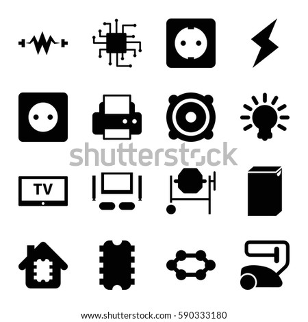 Electrical Icons Set Set 16 Electrical Stock Vector Royalty Free