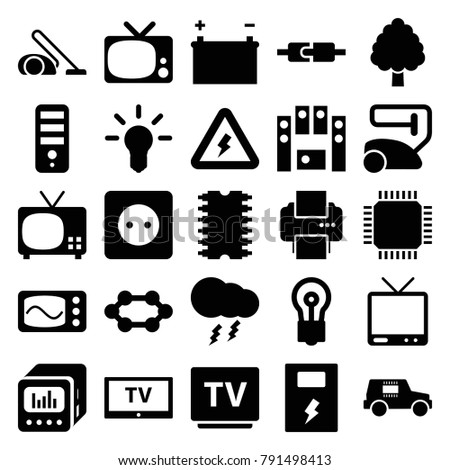Electrical Icons Set 25 Editable Filled Stock Vector Royalty Free