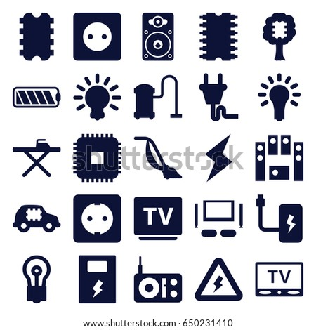 Electrical Icons Set Set 25 Electrical Stock Vector Royalty Free