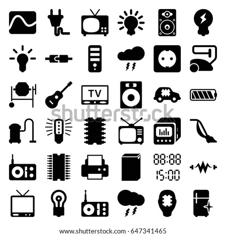 Electrical Icons Set Set 36 Electrical Stock Vector Royalty Free
