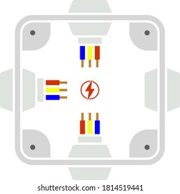 Electrical Junction Box Icon. Flat Color Design. Vector Illustration.