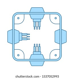 Electrical Junction Box Icon. Thin Line With Blue Fill Design. Vector Illustration.
