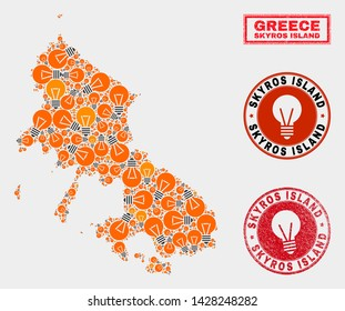 Electrical lamp mosaic Skyros Island map and rubber round watermarks. Mosaic vector Skyros Island map is designed with electrical lamp elements. Abstraction for electric services.