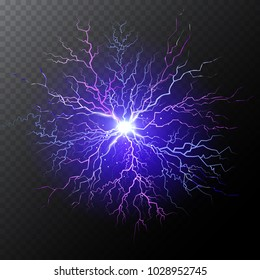 Electrical lightning bolt isolated on dark half transparent background. Abstract scientific electic background. Vector illustration for your graphic design.
